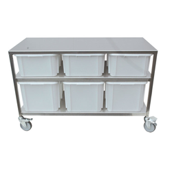 INGREDIENT STATION 1305x615x835mm 3x40L & 3x60L Mobile Stainless steel 4 wheel ø125mm 2 with brake 3 plastic bins á 40L (400x600x220mm) 3 plastic bins á 60L (400x600x320mm) External 1305x615x835mm (WxLxH)