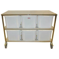 INGREDIENT STATION 1305x615x935mm 6x60L Mobile Stainless steel 4 wheel 2 with brake 6 plastic bins á 60L (400x600x320mm) External 1305x615x935mm (WxLxH)