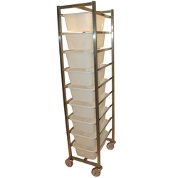 INGREDIENT TROLLEY 9x12L 380x500x1760mm Stainless steel 9 plastic bins á 12L (320x440x170mm)