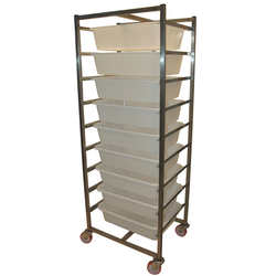 INGREDIENT TROLLEY 9x25L 670x500x1760mm Stainless steel 4 wheel 2 with brake 9 plastic bins á 25L (610x440x150mm)