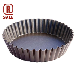 CAKE TIN PAN MOULD FLUTED ROUND ø250/210x50mm Steel Nonstick Fluoroplastic coated {Conforms with: EU 1935/2004, EU 2023/2006, Warning: PFAS}