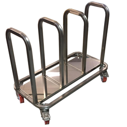 TROLLEY COMBI 3 compartments for sack, bin 60L, tray Stainless steel  4 wheel 2 with brake External 835x430x685mm (WxLxH)