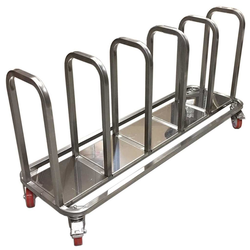 TROLLEY COMBI 5 compartments for sack, bin 60L, tray Stainless steel  4 wheel 2 with brake External 1375x430x685mm (WxLxH)