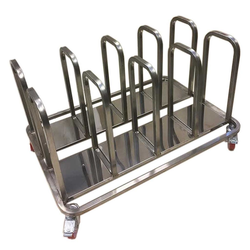 TROLLEY COMBI 8 compartments for sack, bin 60L, tray Stainless steel  4 wheel 2 with brake External 1105x800x685mm (WxLxH)