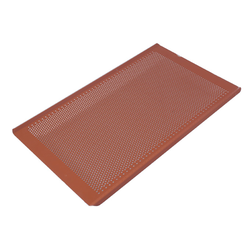 PERFORATED BAKING TRAY GN1/1 STD-type Aluminium 1,4mm Perf ø3,0mm Nonstick Silicone rubber coated RilonElast Red Long sides crease