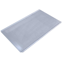 PERFORATED BAKING TRAY GN1/1 STD-type Aluminium 1,4mm Perf ø3,0mm Nonstick Silicone resin coated RilonHard Grey Long sides crease