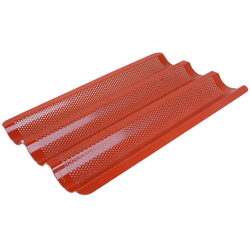 FLUTED BAKING TRAY GN1/1 3 BAGUETTE Aluminium 1,4mm Perf ø3,0mm Nonstick Silicone rubber coated RilonElast Red 3 flutes 70x20mm length 530mm