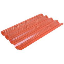 FLUTED BAKING TRAY GN1/1 4 BAGUETTE Aluminium 1,4mm Perf ø3,0mm Nonstick Silicone rubber coated RilonElast Red 4 flutes 60x18mm length 530mm
