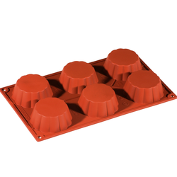 SILICONE MOULD GN1/3 CANELÉ BRIOCHE 109ml (6x ø79x30mm)