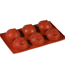 SILICONE MOULD GN1/3 HALF SPHERE 128ml (6x ø75x43mm)