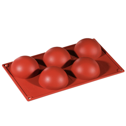 SILICONE MOULD GN1/3 HALF SPHERE 134ml (5x ø80x40mm)