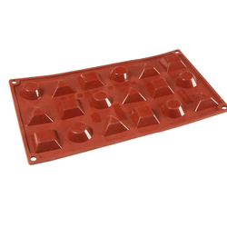 SILICONE MOULD GN1/3 MIX ROUND TRIANGLE SQUARE   8ml (18x 40x36x12mm)