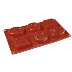 SILICONE MOULD GN1/3 MIX SAVARIN ROUND OVAL SQUARE  75ml (6x 80x70x23mm)