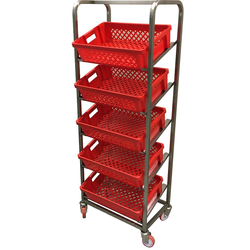 BREAD TROLLEY DISPLAY 40x60 5-rung Stainless steel 4 castors 2 with brakes Tilted rungs Rung distance 300mm External 660x415x1800mm (WxLxH) (Excl. baskets)