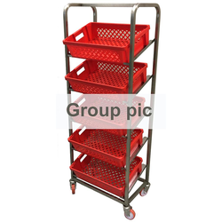 BREAD TROLLEY DISPLAY 40x60 7-rung Stainless steel 4 castors 2 with brakes Tilted rungs Rung distance 215mm External 660x415x1800mm (WxLxH) (Excl. baskets)