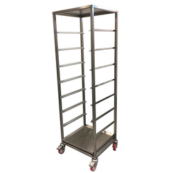 DISHWASHER RACK TROLLEY 50x50 9-rung with top-plate and drip-tray Complete with 100mm PA/PU-wheel 2 with brakes Stainless steel Rung distance 197mm Rung dimension 30x15x1,5mm