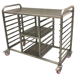TABLE TROLLEY GN1/1 8+8-rung 2 shelves Stainless steel Rung distance 88mm 4 wheel 2 with brake External 1150x530x985mm (WxLxH)