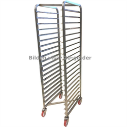 BAKERY RACK GN1/1 15-rung Z-type Stainless steel Complete with 100mm PA/PU-wheel 2 with brakes Rung distance 104mm Rung dimension 15x15x1,5mm