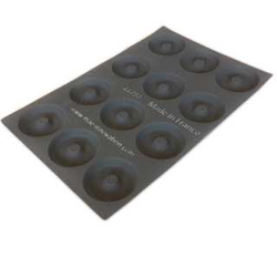 FLEXIPAN FLEXITRAY BAKING TRAY PAN MOULD 40x60  BAGEL 12st ø110x18mm Fibermaé (Made in France) Reinforced indented SILICONE MAT BAKING MAT for bread baking Temperature range -25..+260°C {Conforms with: EU 1935/2004, EU 2023/2006}