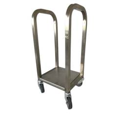 TROLLEY COMBI 1 compartments for sack, bin 60L, tray Stainless steel  4 wheel ø75mm External 255x295x735mm (WxLxH)