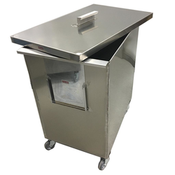 BIN 175L WITH LID MOBILE Stainless steel External 710x450x735mm (WxLxH)