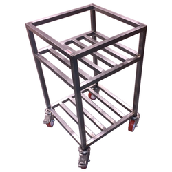 TABLE TROLLEY 2 SHELVES 475x475x800mm Stainless steel Hjul ø100mm 2 with brake