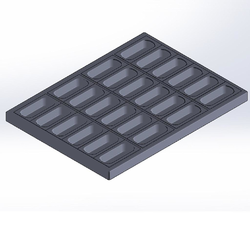 INDENTED BAKING TRAY SHEET PAN 47x63 Aluminium Nonstick Silicone rubber coated RilonElast Red Internal 130/127x50/47mm Configuration 4x6 {Conforms with: EU 1935/2004, EU 2023/2006, EN AW-3003}