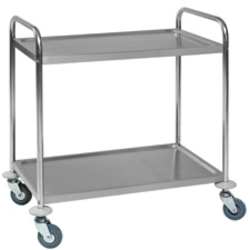TABLE TROLLEY 2 SHELVES 530x860x810mm Stainless steel Payload 100kg Hjul ø100mm 2 with brake Unassembled {Conforms with: EU 1935/2004, EU 2023/2006}
