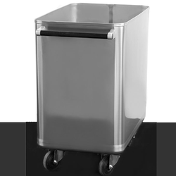BIN 170L FLOUR BIN MOBILE 430x650x620mm Stainless steel Round corners 1 handle 2 fixed 2 swivel castors Exklusive lid External 440x720x755mm (WxLxH)