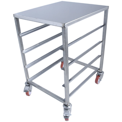TABLE TROLLEY 45x60 4-rung Stainless steel Rung distance 152mm 4 wheel 2 with brake External 510x600x800mm (WxLxH)