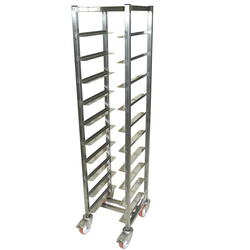 SERVING TRAY TROLLEY CAFÉ 28x36 10-rung Stainless steel Height 1520mm Rung distance 130mm 4 wheel 2 with brake