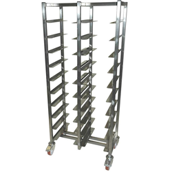 SERVING TRAY TROLLEY CAFÉ 28x36 DOUBLE 10+10-rung Stainless steel Height 1520mm Rung distance 130mm 4 wheel 2 with brake