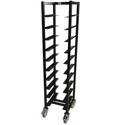 SERVING TRAY TROLLEY LUNCH 33x43 10-rung Stainless steel Black painted Height 1520mm Rung distance 130mm 4 wheel 2 with brake