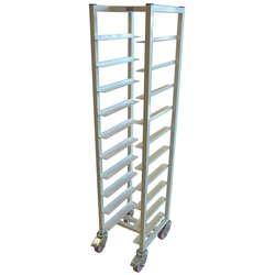 SERVING TRAY TROLLEY LUNCH 33x43 10-rung Stainless steel White painted Height 1520mm Rung distance 130mm 4 wheel 2 with brake