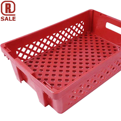 BREAD BASKET 40x60 27L Red PP-plastic Perforated base and sides Nesting height 44mm Internal 370x565x137mm {Conforms with: EU 1935/2004, EU 2023/2006, EU 10/2011}