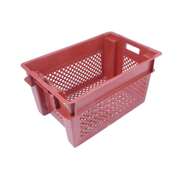 BREAD BASKET 40x60 49L Red PP-plastic Perforated base and sides Nesting height 85mm Internal 370x565x297mm {Conforms with: EU 1935/2004, EU 2023/2006, EU 10/2011}