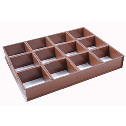 BAKING FRAME TIN PAN MOULD 45x60 Square Loaf 12x 120x120x70mm Aluminium Nonstick Silicone rubber coated RilonElast Red {Conforms with: EU 1935/2004, EU 2023/2006, EN AW-3003}