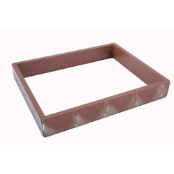 BAKING FRAME TIN PAN MOULD 45x60 Internal 405x525x80mm Aluminium tube Nonstick Silicone rubber coated RilonElast Red {Conforms with: EU 1935/2004, EU 2023/2006, EN AW-3003}