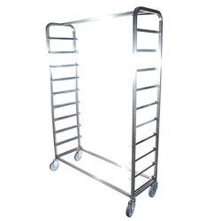 BREAD TROLLEY 1200x400 10-rung Stainless steel Excl. shelves 4 swivel castors Rung distance 160mm External 1300x415x1800mm (WxLxH)