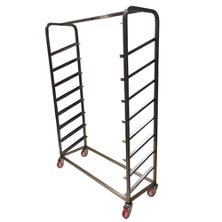 BREAD TROLLEY DISPLAY 1200x400mm 8-rung Stainless steel Excl. shelves 4 swivel castors Tilted rungs Rung distance 180mm External 1300x415x1800mm (WxLxH)