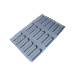 FLEXIPAN FLEXITRAY BAKING TRAY PAN MOULD 40x60 HOT DOG BUN 18x 155x41x25mm Fibermaé (Made in France) Reinforced indented SILICONE MAT BAKING MAT for bread baking Temperature range -25..+260°C {Conforms with: EU 1935/2004, EU 2023/2006}