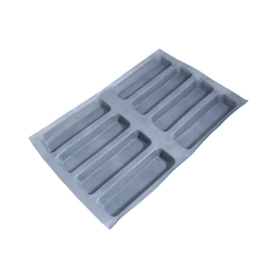FLEXIPAN FLEXITRAY BAKING TRAY PAN MOULD 40x60 RECTANGULAR  8x 240x70x35mm Fibermaé (Made in France) Reinforced indented SILICONE MAT BAKING MAT for bread baking Temperature range -25..+260°C {Conforms with: EU 1935/2004, EU 2023/2006}