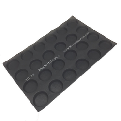 FLEXITRAY 40x60 ROUND 24x ø75x17mm Fibermaé (Made in France) Reinforced indented silicone mat for bread baking Temperature range -25..+260°C