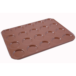 INDENTED BAKING TRAY SHEET PAN 45x60  ø95x12mm STD-type Nonstick Silicone rubber coated RilonElast Red Aluminium 2,0mm Configuration 5x4 {Conforms with: EU 1935/2004, EU 2023/2006, EN AW-3003}