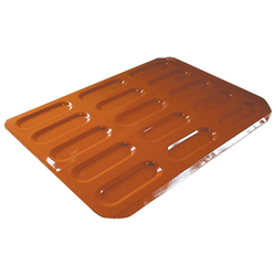 INDENTED BAKING TRAY SHEET PAN 45x60 155x50x7mm STD-type Nonstick Silicone rubber coated RilonElast Red Aluminium 2,0mm Configuration 5x3 {Conforms with: EU 1935/2004, EU 2023/2006, EN AW-3003}