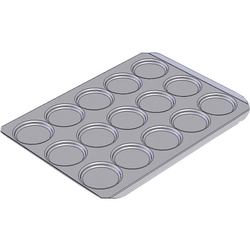 INDENTED BAKING TRAY SHEET PAN 45x60 ø105x12mm STD-type Aluminium 2,0mm Configuration 3x5 {Conforms with: EU 1935/2004, EU 2023/2006, EN AW-3003}
