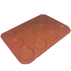 INDENTED BAKING TRAY SHEET PAN 45x60 ø125x12mm STD-type Nonstick Silicone rubber coated RilonElast Red Aluminium 2,0mm Configuration 4x3 {Conforms with: EU 1935/2004, EU 2023/2006, EN AW-3003}