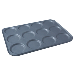 INDENTED BAKING TRAY SHEET PAN 45x60 ø125x12mm STD-type Nonstick Silicone resin coated RilonHard Grey Aluminium 2,0mm Configuration 4x3 {Conforms with: EU 1935/2004, EU 2023/2006, EN AW-3003}