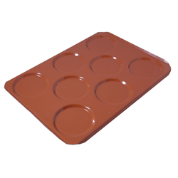 INDENTED BAKING TRAY SHEET PAN 45x60 ø150x12mm STD-type Nonstick Silicone rubber coated RilonElast Red Aluminium 2,0mm Configuration 2x3+2 {Conforms with: EU 1935/2004, EU 2023/2006, EN AW-3003}