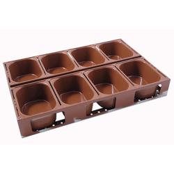 BAKING TIN SET PAN MOULD STRAP 40x60 8x1,4L 175mm Farmhouse 400g DD-type Aluminium Nonstick Silicone rubber coated RilonElast Red Internal 175x125x80mm Configuration 2x4 Deep drawn